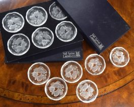 Val Saint Lambert set of twelve wine glass coasters, each with frosted fruit decoration, signed, 3.