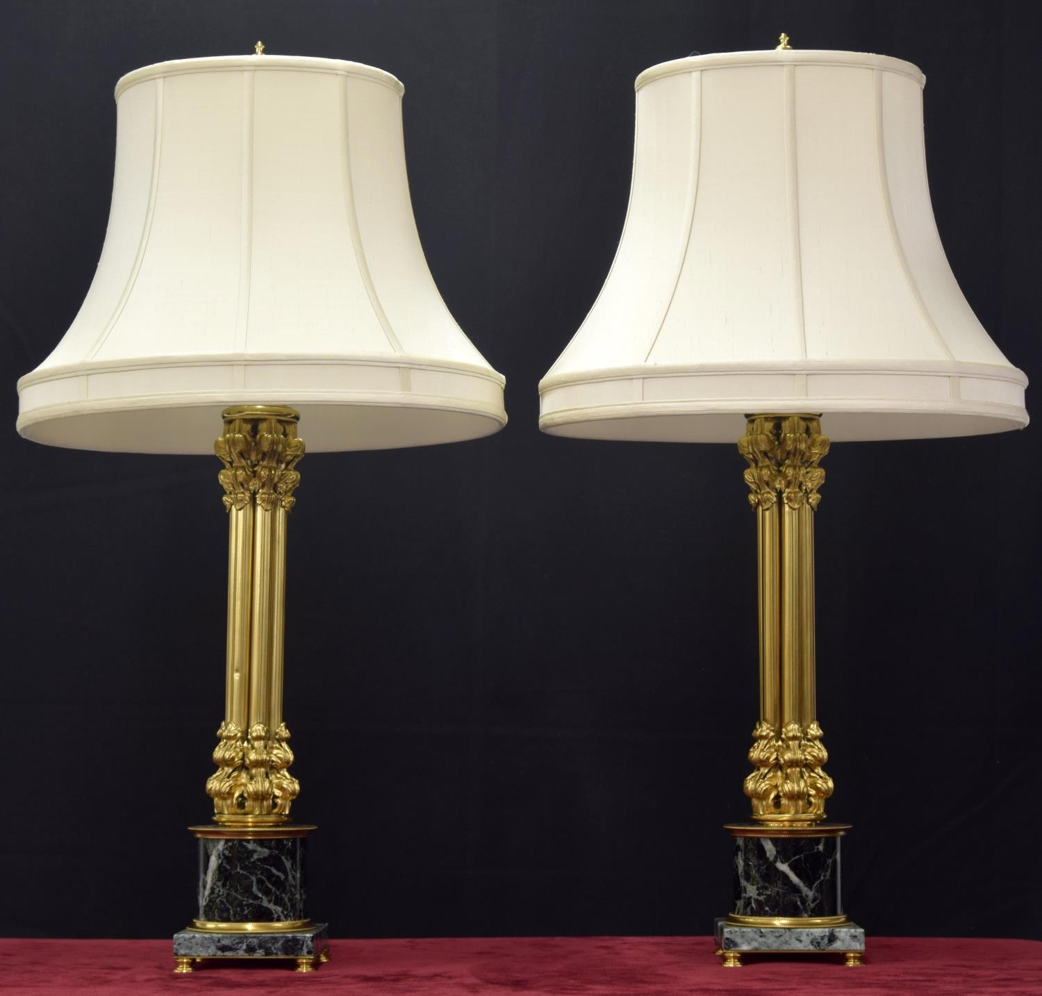 """Good large decorative pair of French gilt metal and marble cluster column lamps, with shades, 35"""""""