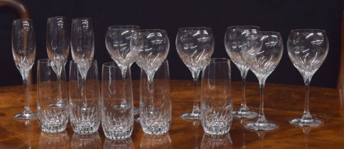 Sevres crystal drinking glasses comprising six wine, five water and three champagne flutes,