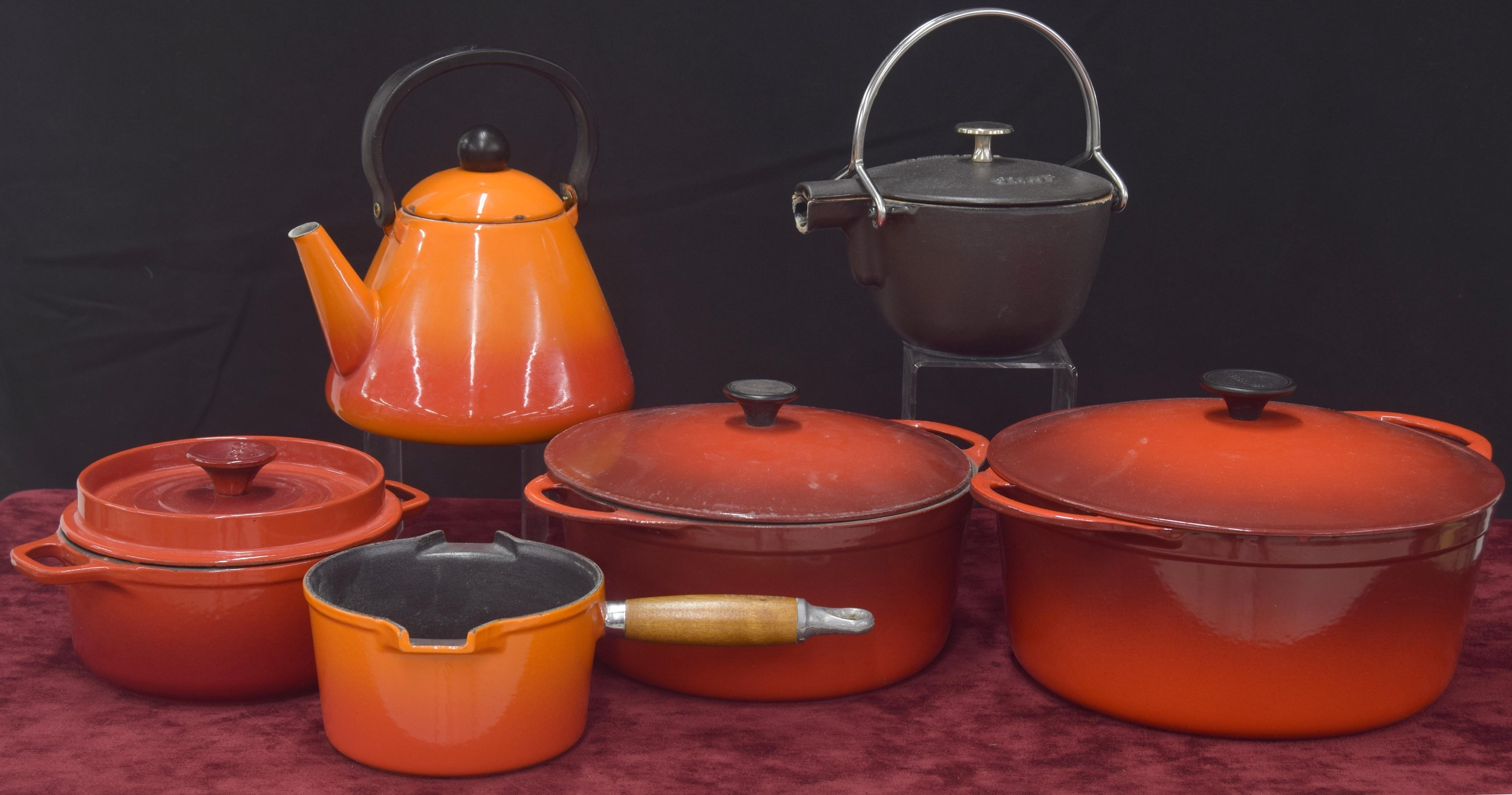 """Selection of French cast iron cookware comprising two Cousances casserole pots with covers, 11.5"""""""