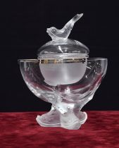 """Lalique 'Igor' caviar clear and frosted glass bowl,signed 'Lalique, France', 10"""" high"""