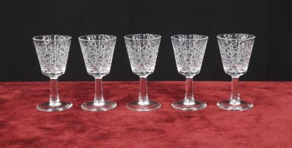"""Baccarat 'Rohan' five liqueur drinking glasses, moulded 'France' mark to each, 3.25"""" high(5)"""