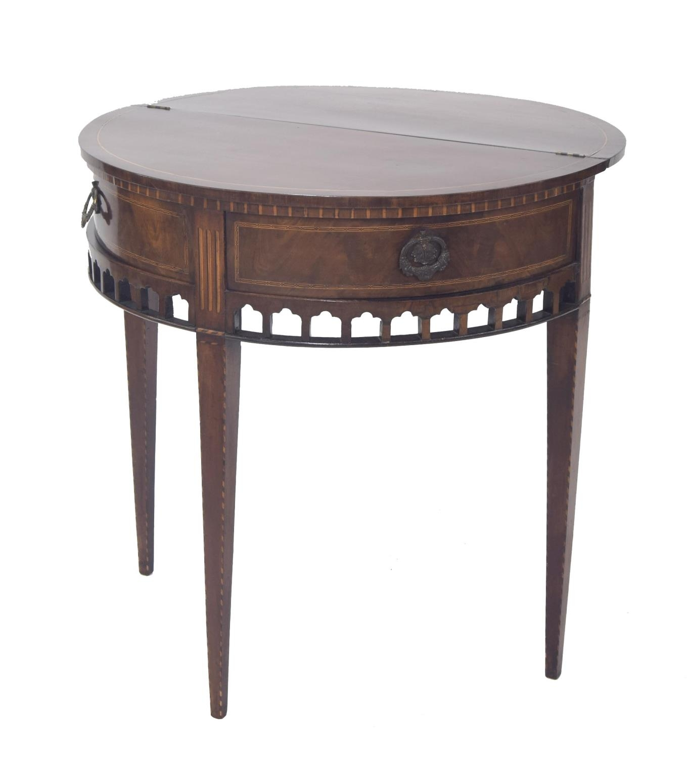 Dutch 19th century mahogany inlaid demi-lune fold-over tea table, the hinged top above a pull-out