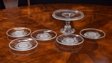 Lalique 'Nippon' glass comport and five side plates, each plate with stencilled 'R. Lalique' mark,