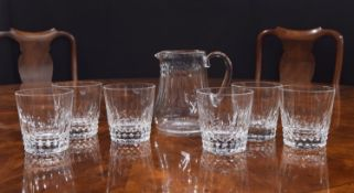 """Baccarat cut-glass water jug and six tumbler glasses, etched marks, the jug 7"""" high, the glasses 4."""