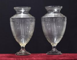 """Tall pair of ovoid glass pedestal vases, with fluted decoration upon stepped hexagonal bases, 21"""""""