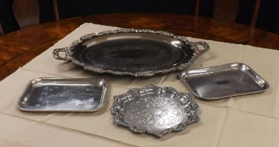 Good large silver plated engraved twin-handled serving tray, with a cast foliate shaped border