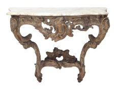Decorative Continental carved beech console table, 18th century,the pierced and carved Rococo frame