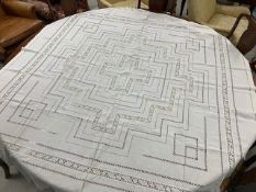 """French white jacquard table cloth, 157"""" x 74"""" approx; French ivory table cloth with crochet panels,"""