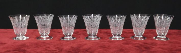 Baccarat - set of seven footed drinking glasses with floral decoration,marks to the undersides, 3.