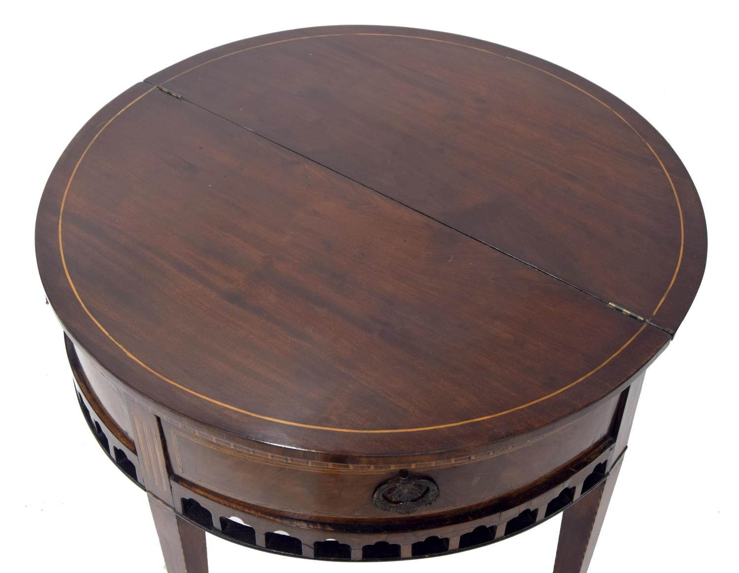 Dutch 19th century mahogany inlaid demi-lune fold-over tea table, the hinged top above a pull-out - Image 2 of 3