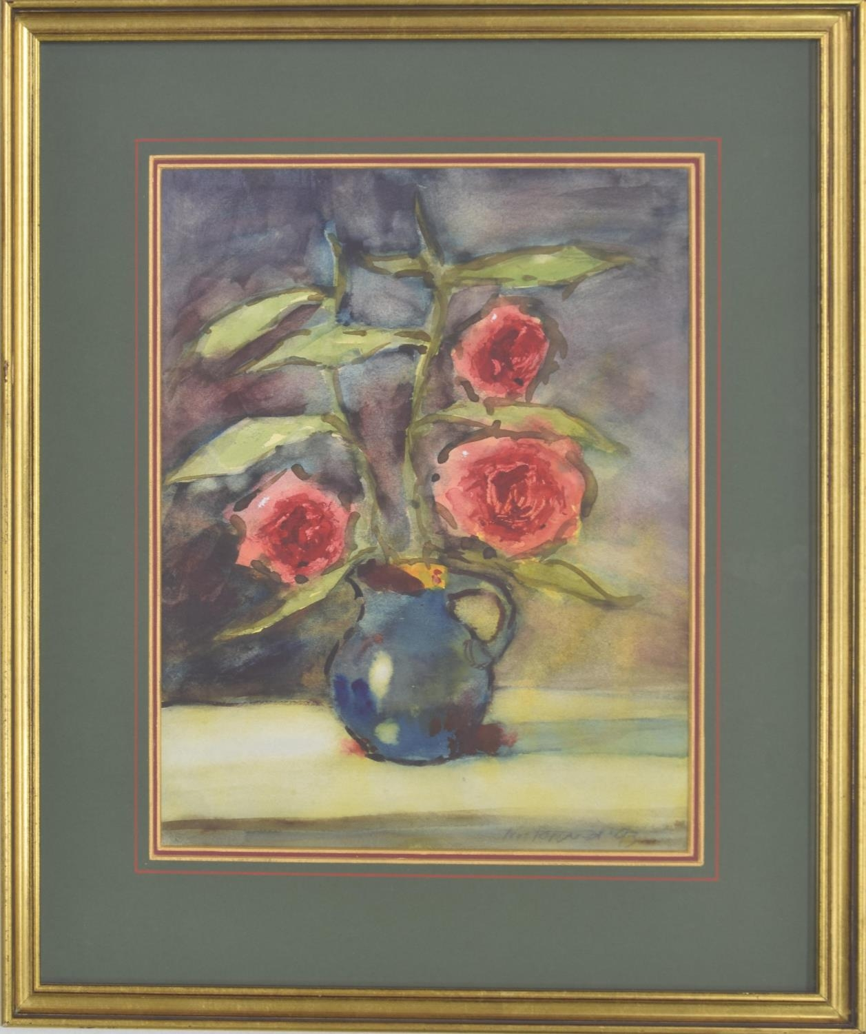 Continental School (20th century) - still life of roses in a blue jug, indistinctly signed and dated