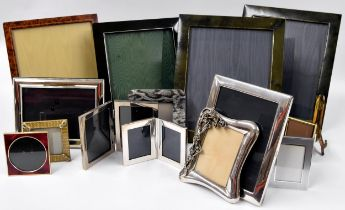 A large collection of photograph frames including four large Mappin & Webb frames, Art Nouveau style