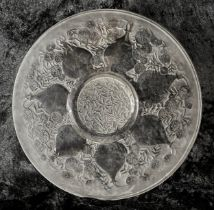 """Lalique 'Vases' clear and frosted glass circular plate, moulded 'R.LALIQUE' mark, 9.25""""diameter"""