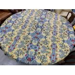 """Lined circular table cloth with yellow dragon designs, 84"""" diameter approx; with three other similar"""