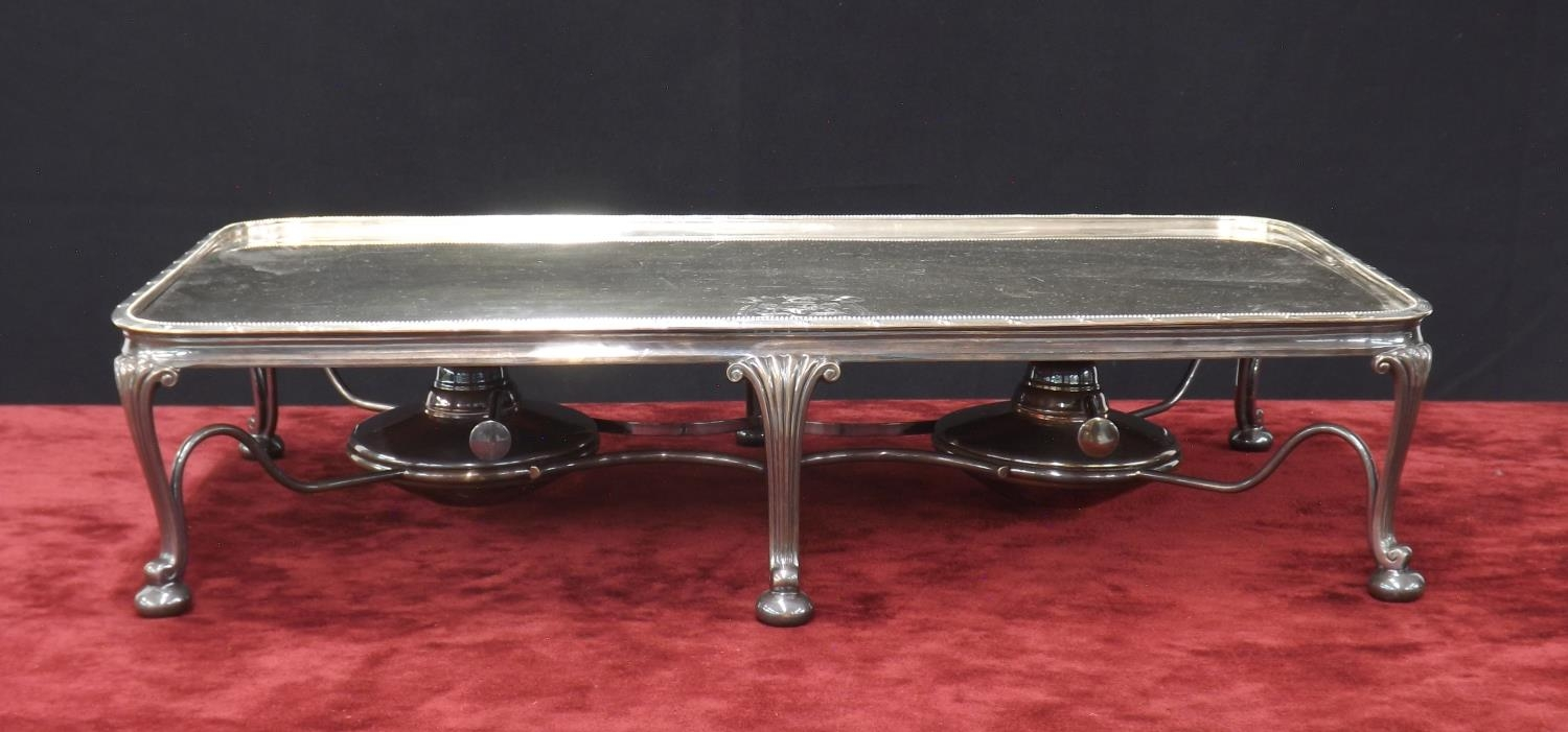 Large silver plated hot plate serving stand, with engraved crest for ?Hotel Bristol Barcelona?, with
