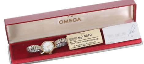 Omega Genéve automatic gold plated and stainless steel lady's bracelet watch, ref. 566.002, serial