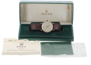 Rolex Precision 9ct gentleman's wristwatch, circular silvered dial with Arabic numerals and centre