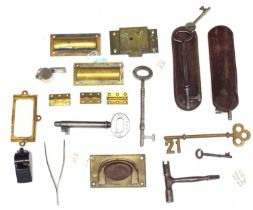 Six various old 'GWR' keys, two in leather cases; also a small quantity of 'GWR' locks and handles