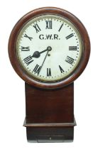 """Great Western Railway (G.W.R) mahogany single fusee 12"""" drop dial wall clock within a turned"""