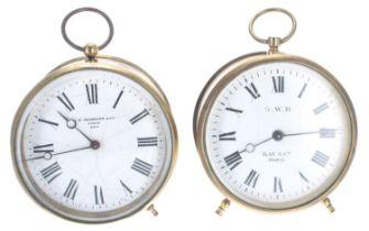 "Great Western Railway (G.W.R) brass drum mantel clock timepiece,the 3.5"" white dial inscribed 'G."