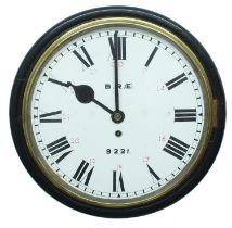 "British Railway (Eastern Region) ebonised singlefusee 12"" wall dial railway clock inscribed 'B.R.("