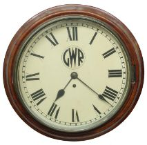 """Great Western Railway (G.W.R) mahogany single fusee 12"""" wall dial clock within a turned surround,"""