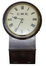 """Great Western Railway (G.W.R) mahogany single fusee 12"""" drop dial wall clock, within a turned"""