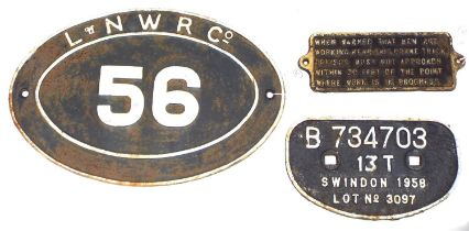 London and North Western Railway Company cast iron oval plaque inscribed 'L & NWR Co.' and
