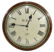 "Rare Great Eastern Railway (L&NER) mahogany single fusee wall dial clock, the 14"" convex dial"