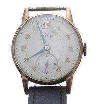 British Railway (B.R.) Midland Region Smiths De Luxe 9ct gentleman's wristwatch, Birmingham 1957,