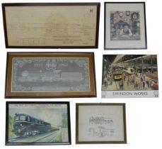 "Framed silk workcommemoratingGood King George V of The Great Western Railway, 1927-1962, 12"" x"