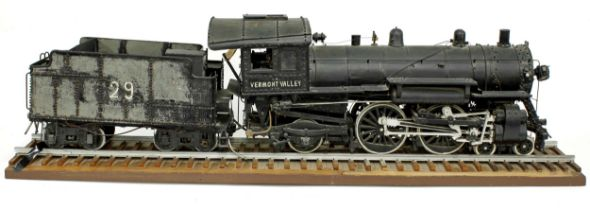 Good American engineering model of a Vermont Valley steam locomotive and tender, made from wood