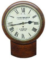 "Southern Eastern Railway oak singlefusee 12"" drop dial wall clock signed John Walker, 1. South"