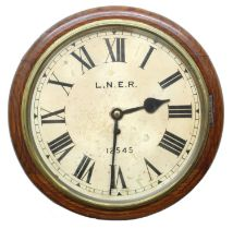 """London North EasternRailway (L.N.E.R) oak single fusee 12"""" wall dial clock within a turned"""