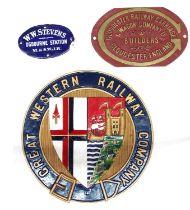 "Small oval blue enamel metal plaque inscribed 'W.W. Stevens, Ogbourne Station M. & S.W.J.R' 5"" wide;"