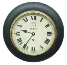 """London, Midland and Scottish Railway (L.M.S) ebonised single train 8"""" wall dial clock, within a"""