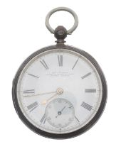 Victorian silver fusee lever pocket watch of Railway Interest,London 1870, the movement signed