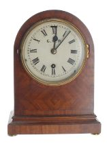 Great Western Railway (G.W.R) mahogany single train mantel clock,bearing an ivorine plaque fixed to