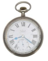 Great Western Railway (G.W.R.) Limit No.2 nickel cased lever pocket watch,signed movement with