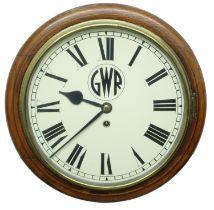 """Great Western Railway (G.W.R) oak single fusee 12"""" wall dial clock,inscribed 'G.W.R. 3726' on an"""