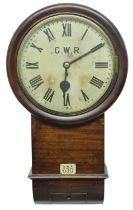 "Good Great Western Railway (G.W.R) mahogany single fusee 12"" good drop dial wall clock within a"