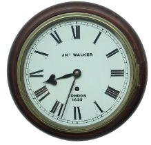 "Mahogany single fusee 8"" wall dial clock signed 'JNO Walker, London 1653',within a turned"