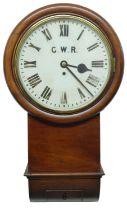 """Great Western Railway (G.W.R)mahogany12"""" drop dial wall clock,within a turned surround, inscribed"""