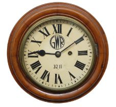 """Great Western Railway (G.W.R) walnut single fusee 8"""" wall dial clock within a turned surround,"""