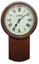 """Great Western Railway (G.W.R) mahogany single fusee 14"""" drop dial wall clock within a turned"""