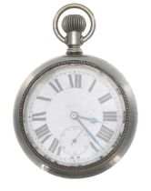 London, Midland and Scottish Railway (L.M.S.R) Lonville nickel cased lever pocket watch,signed