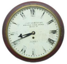 "London, Midland and Scottish Railway (L.M.S)mahoganysingle fusee 12"" wall dial clock signed John"