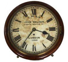 "London, Midland and Scottish Railway (L.M.S.R) mahogany single fusee 12"" wall dial clock signed John"