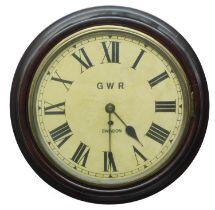"Great Western Railway (G.W.R) single fusee 12"" wall dial clock, inscribed 'G W R, Swindon', within a"